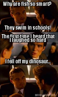 Meme creator why are fish so smart they swim in schools for Are fish smart