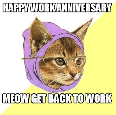 Meme Creator - Funny Happy work Anniversary Meow get back ...
