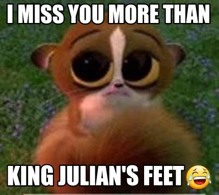 Meme Creator Funny I Miss You More Than King Julians Feet