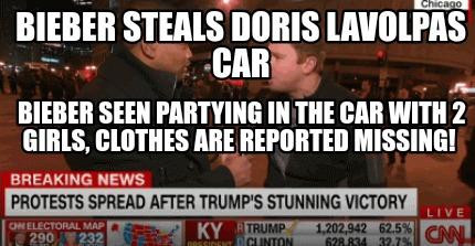 Meme Creator - Funny BIEBER STEALS DORIS LAVOLPAS CAR BIEBER
