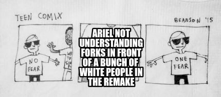 ariel-not-understanding-forks-in-front-of-a-bunch-of-white-people-in-the-remake